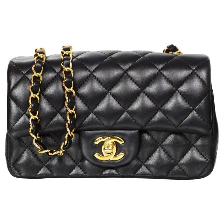 f9c42f848d41 Chanel 2015 Black Lambskin Rectangular Mini Flap Bag with GHW For Sale