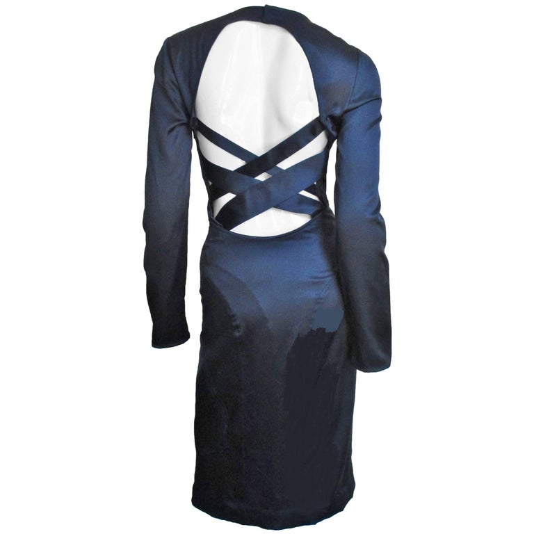 1990s Versace Navy Silk Dress with Cutout Back
