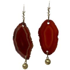 Yves Saint Laurent Arty Agate Orange / Brown Earrings