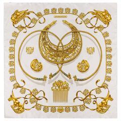 """HERMES c.1975 Rybal """"Les Cavaliers D'or"""" Gold Chain Scythian Art 100% Silk Scarf"""