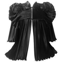 1970s Zandra Rhodes Black Pleated Sculpted Jacket