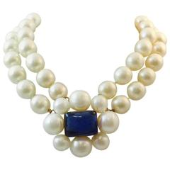 Chanel Vintage Double Strand Pearl Choker with Blue Gripoix Chiclets