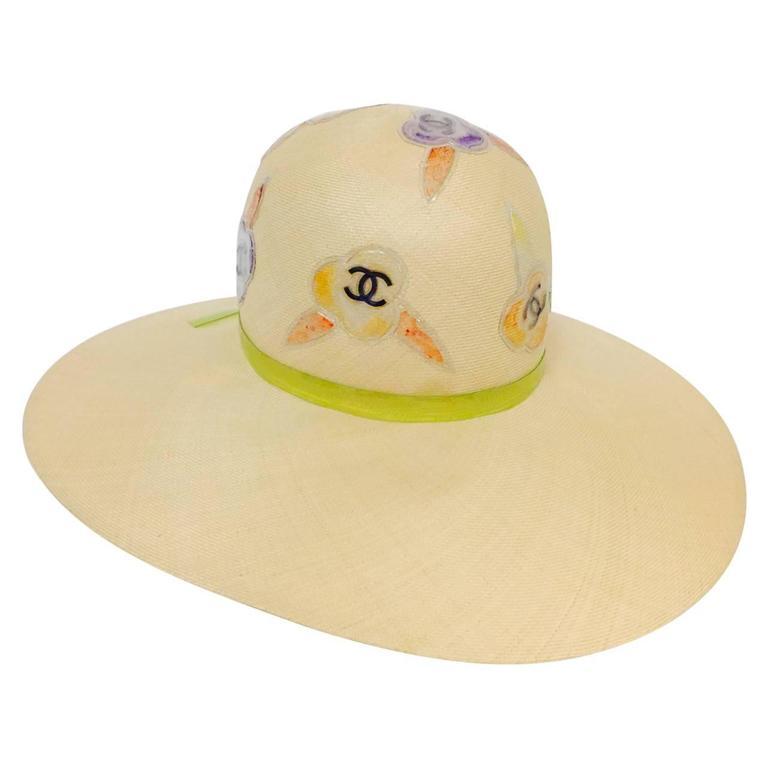 Rare Chanel Wide Brim Camellia Hat 1
