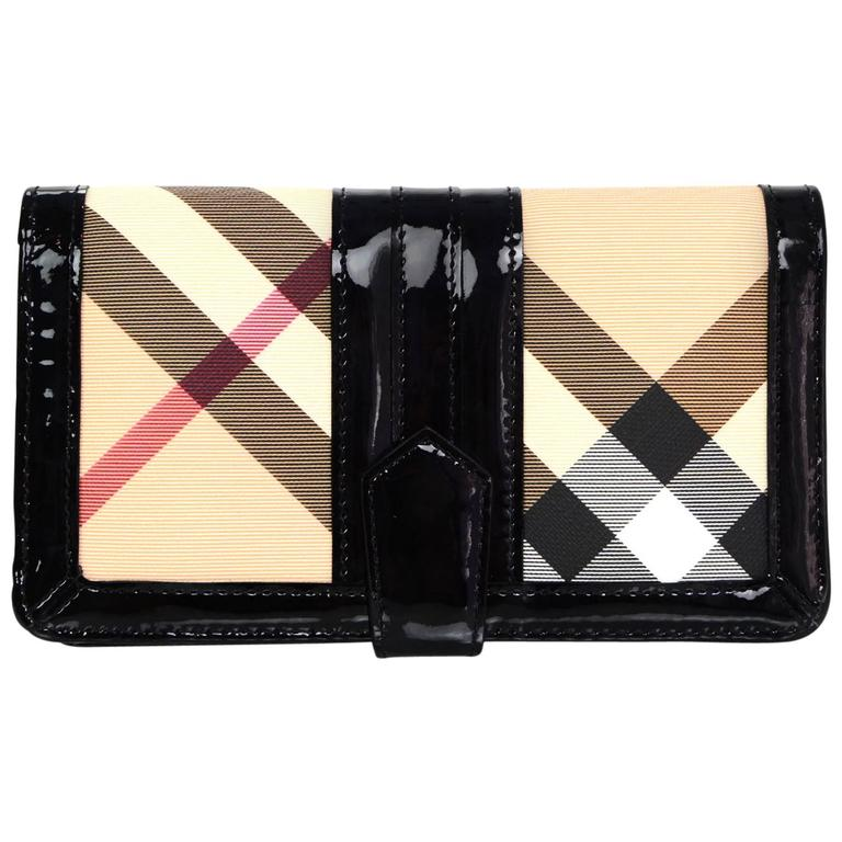 Burberry Black Patent Leather And Nova Plaid Wallet For