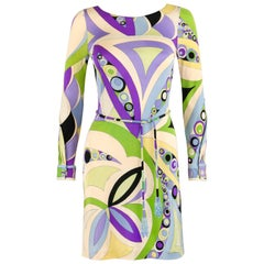 EMILIO PUCCI c.1960's Signature Print Coppola e Toppo Belt Sheath Dress