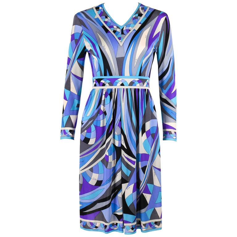 EMILIO PUCCI c.1960's Blue Signature Print V-neckline Long Sleeve Silk Dress For Sale