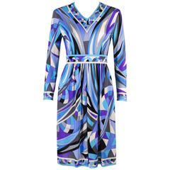 EMILIO PUCCI c.1960's Blue Signature Print V-neckline Long Sleeve Silk Dress