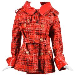 Junya Watanabe Comme des Garcons Red Beige Plaid Belted Coat Size M