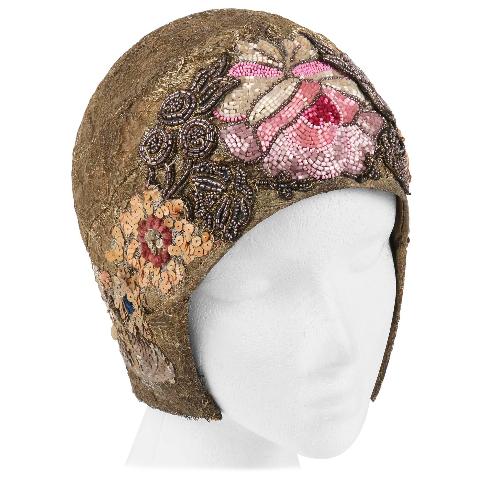 16d2be95 MANNHEIMER c.1920's Gold Lace Floral Glass Bead Sequin Helmut Flapper Cloche  Hat For Sale at 1stdibs