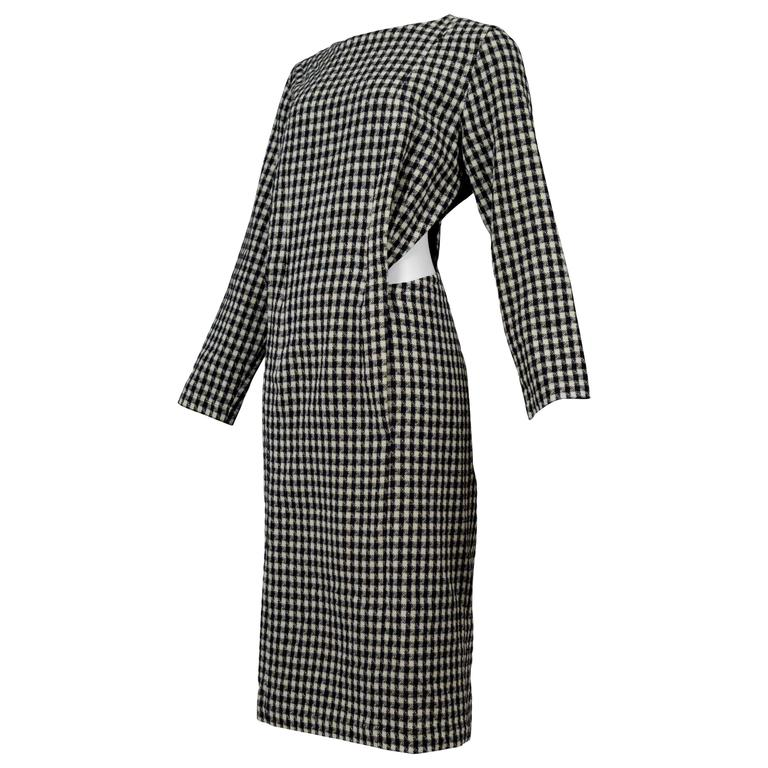 Comme des Garcons Houndstooth Cut Out Dress 1986 For Sale