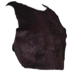 Margiela Burgundy Fur Apron Halter Top