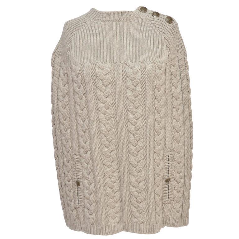Louis Vuitton Wool Cape Cable Knit Poncho Mint Size M