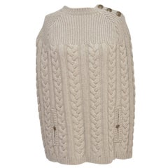 Louis Vuitton Wool Cape Cable Knit Poncho