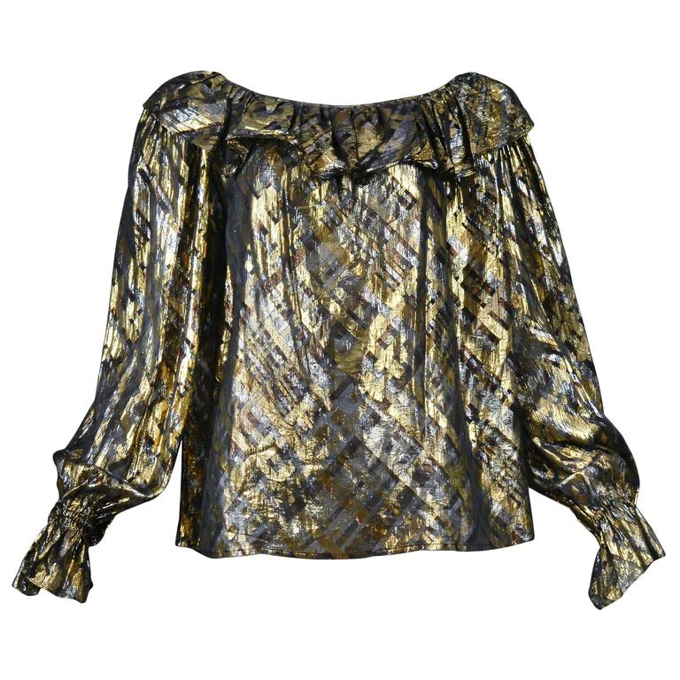 Yves Saint Laurent Gold Lame Plaid Ruffle Blouse 1