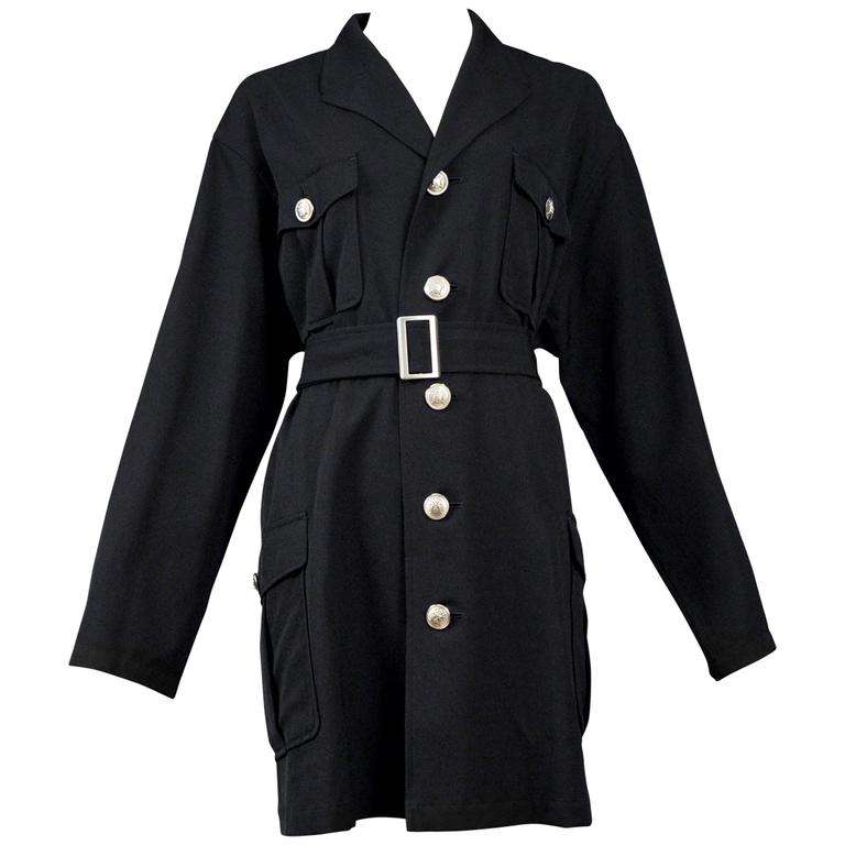 Yohji Yamamoto Black Military Button Belted Coat For Sale