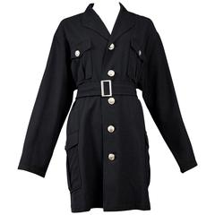 Yohji Yamamoto Black Military Button Belted Coat
