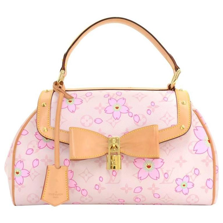 Louis Vuitton Sac Retro PM Pink Rouge Cherry Blossom Monogram Canvas Hand Bag 1