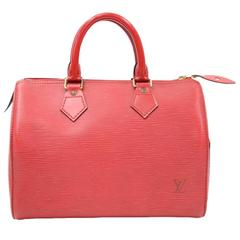 Louis Vuitton Speedy 25 Red Epi Leather City Hand Bag