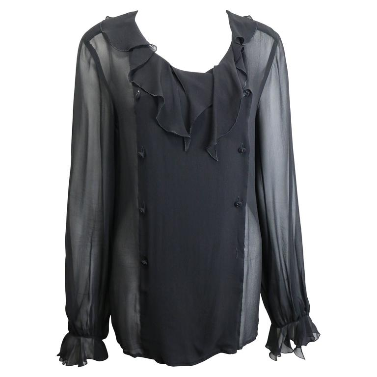 Chanel Black Silk Lace Double Breasted Ruffle Blouse