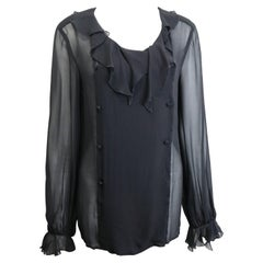 97 Chanel Black Silk Lace Double Breasted Ruffle Blouse