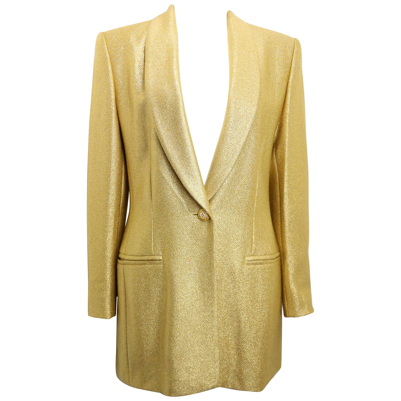 Vintage 80s Escada Couture Gold Toned Metallic Shinny Shawl Blazer