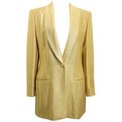 Escada Couture Gold Toned Metallic Shinny Shawl Blazer