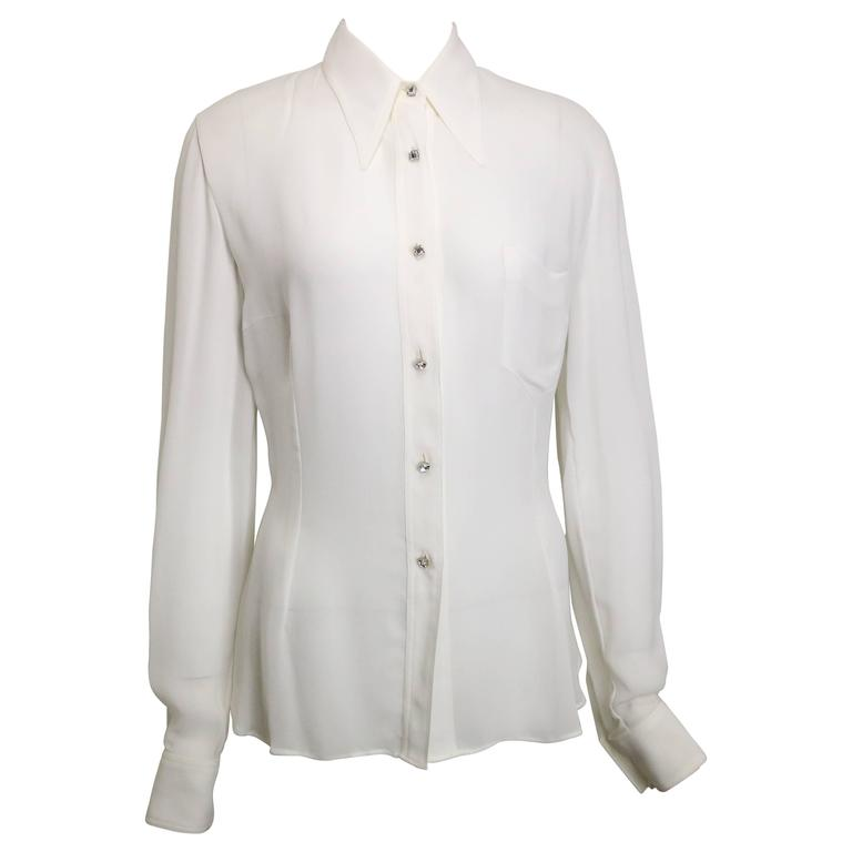 Dolce and Gabbana White Collar Shirt with Square Rhinestone Buttons