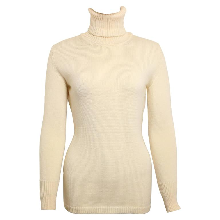 Gucci by Tom Ford White Wool Turtleneck Top