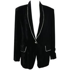 Vintage 90s Complice Black Velvet Rhinestones Shawl Blazer