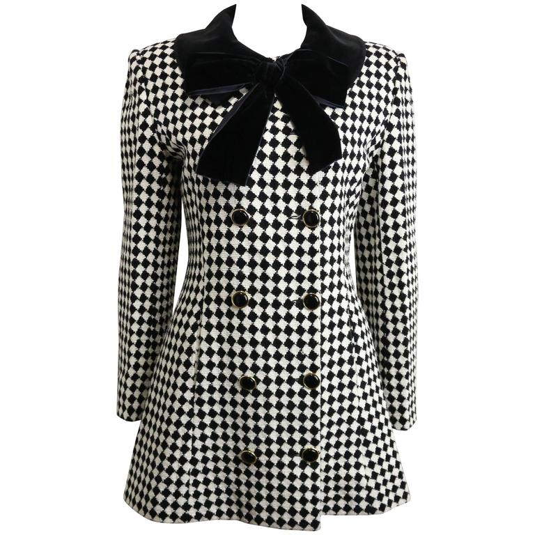 Angelo Tarlazzi Double Breasted Black and White Harlequin Check Coat With Bow  For Sale
