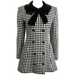 Angelo Tarlazzi Double Breasted Black and White Harlequin Check Coat With Bow