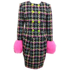 Christian Lacroix Double Breasted Houndstooth Tweed Wool Suit and Skirt Ensemble