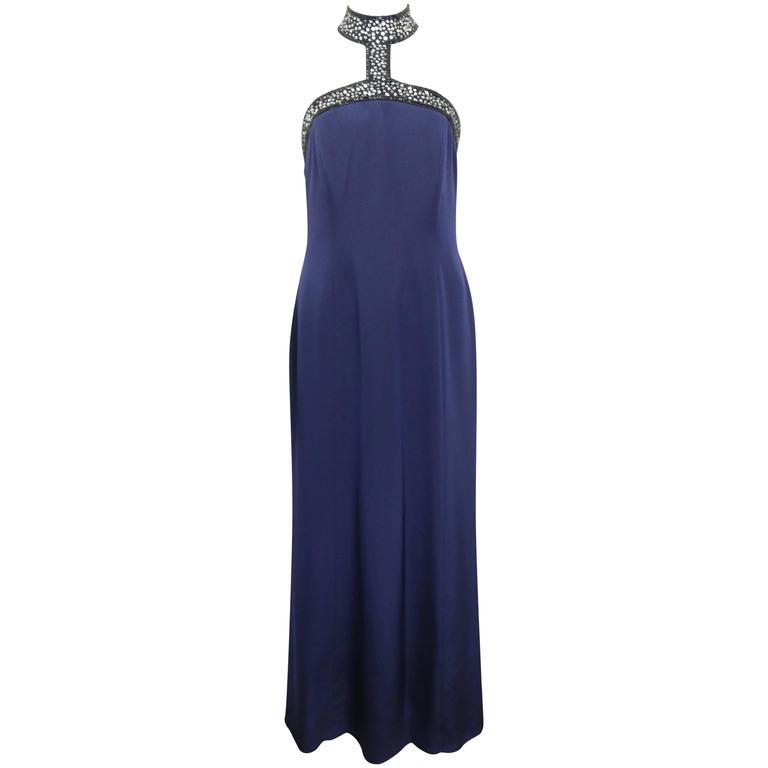 Escada Couture Dark Blue Choker Neck with Sequins/Beads Mermaid Silk Nightgown