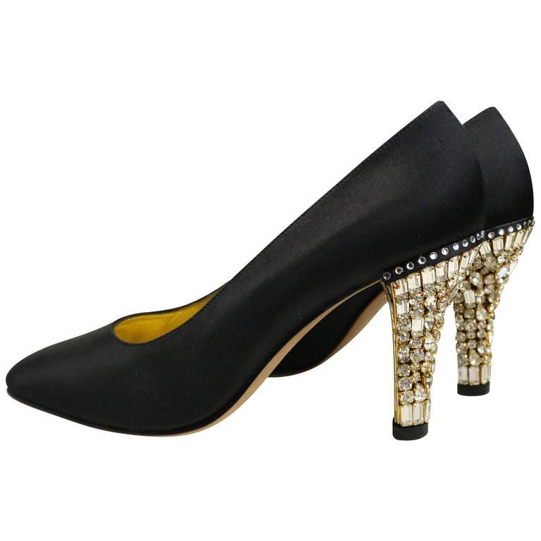 64e44f0b468f Escada Black Satin Pointy Pumps with Crystal Rhinestones Gold Toned Heels  For Sale