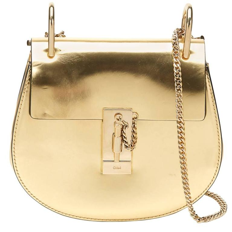 2016 Chloé Gold Metallic Calfskin Small Drew For Sale