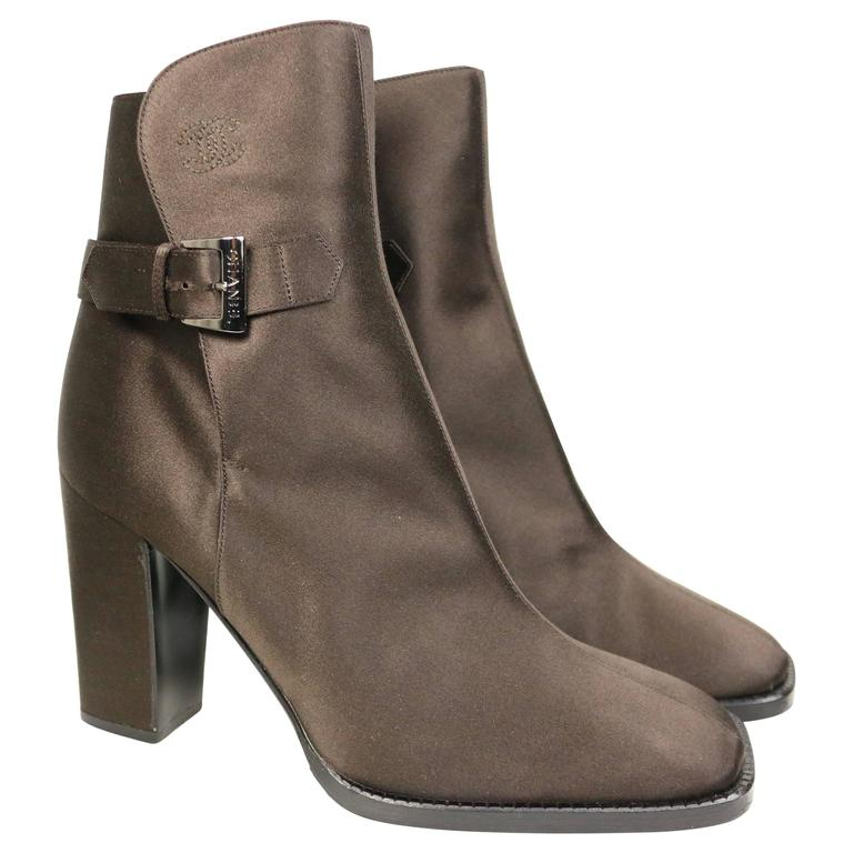 Chanel Brown Satin Ankle Boots