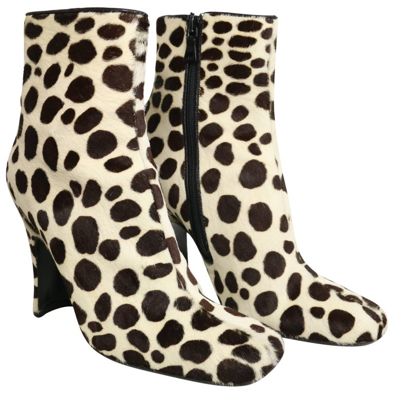 Prada Leopard Print Pony Hair Ankle Boots For Sale