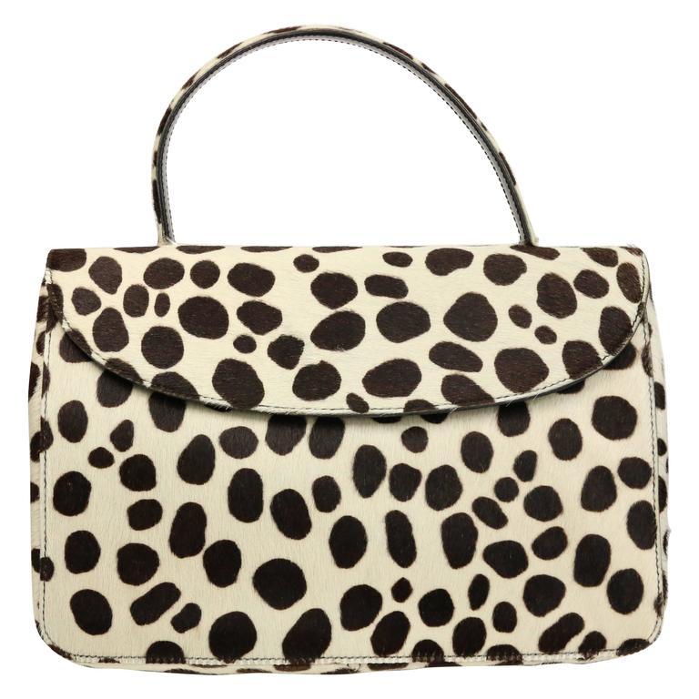Prada Leopard Print Pony Hair Flap Handbag.   For Sale