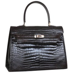"Vintage Dark Brown Croco Leather ""Kelly"" Style Handle Bag"