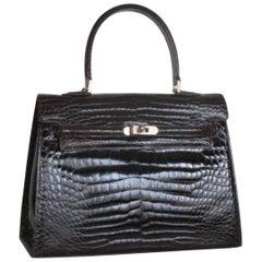 """Vintage Dark Brown Croco Leather """"Kelly"""" style bag"""