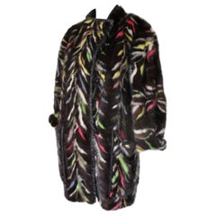 Multi Colored Mink Fur Coat Trimmed with Leather