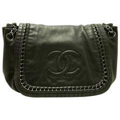 CHANEL Luxury Line Shoulder Bag Black Silver CC Logo Flap Lambskin