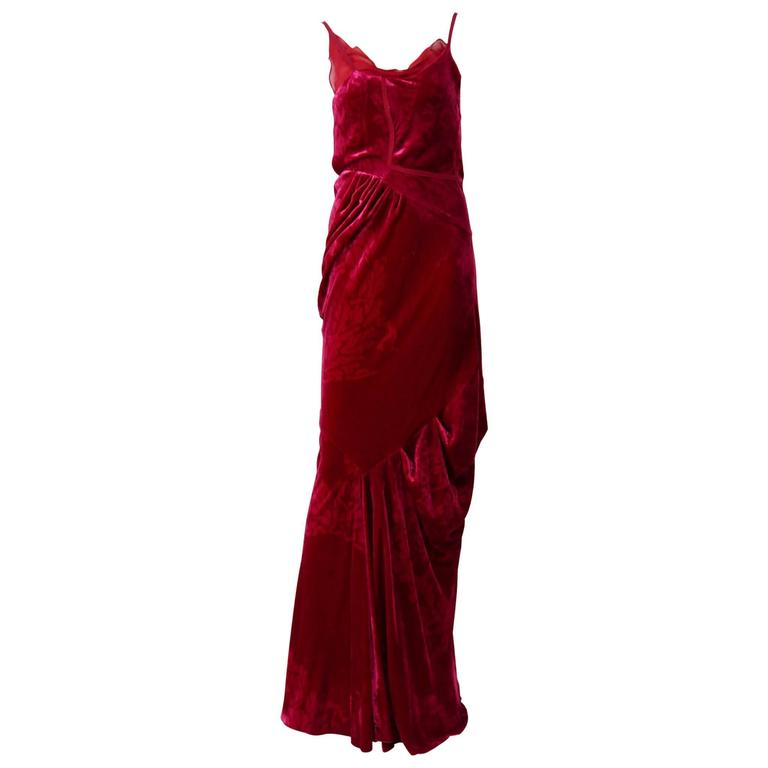 Christian Dior by John Galliano Red Silk Bias Cut Evening Dress For Sale