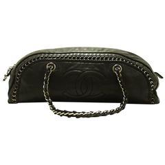CHANEL Luxury Line Chain Handbag Bag Black Lambskin Leather Silver