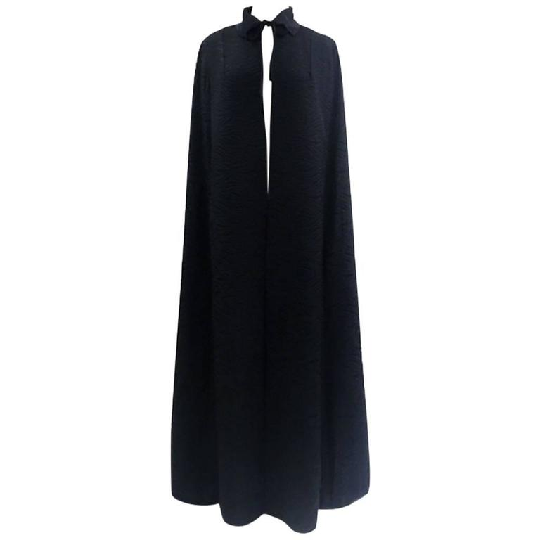 1960's Harrods Black Silk Rayon Cloque' Opera Cloak, Floor Length  1