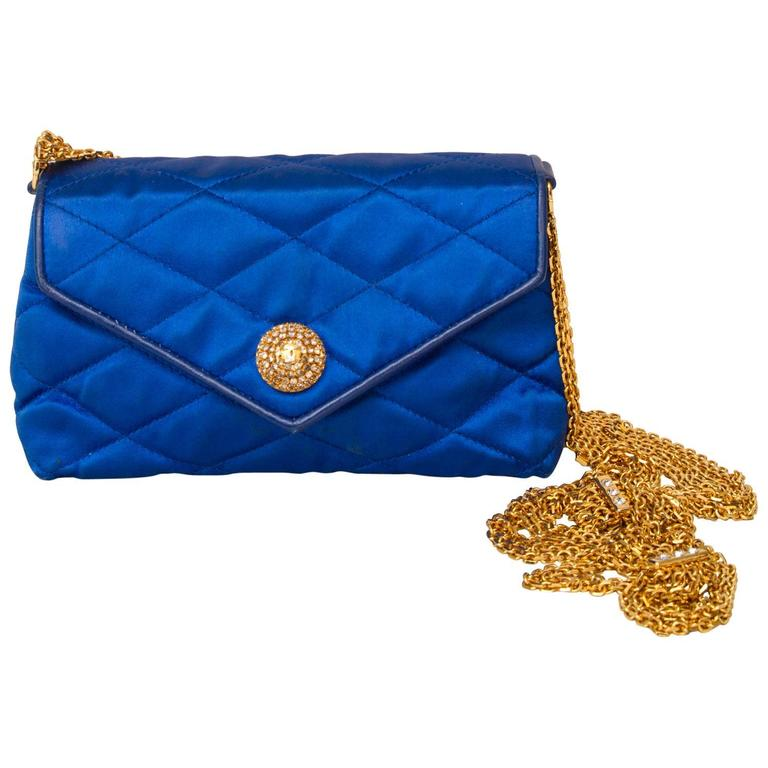 An 80s Glamorous Chanel Quilted Blue Satin Evening Bag 1
