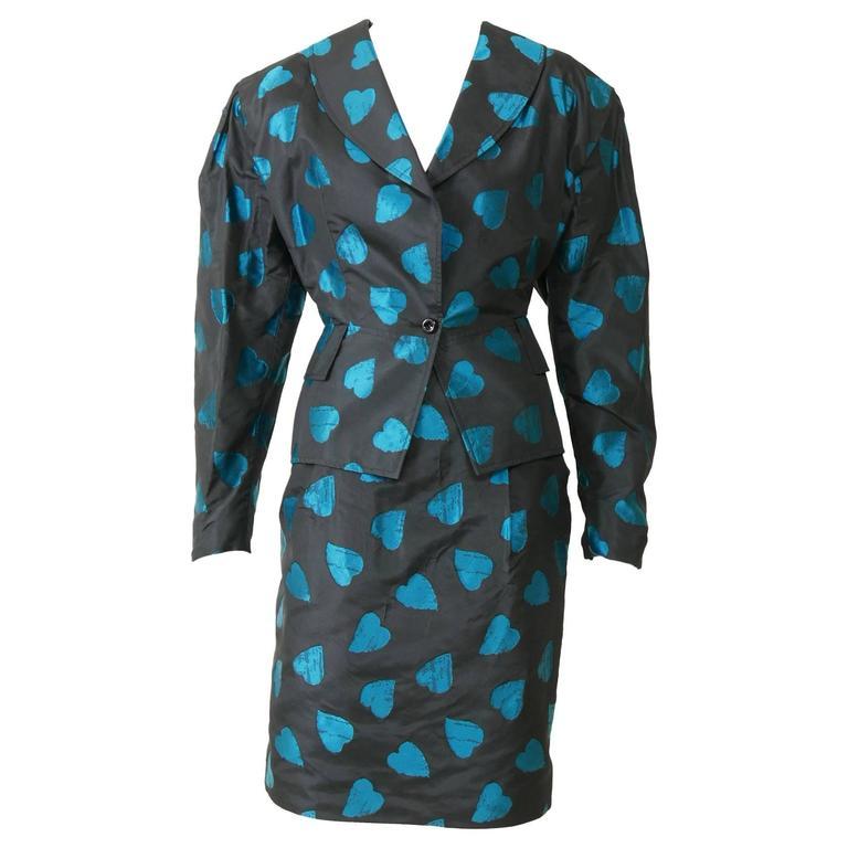 1980s UNGARO Black Taffeta Hearts Print 2 pc Suit Dress 1