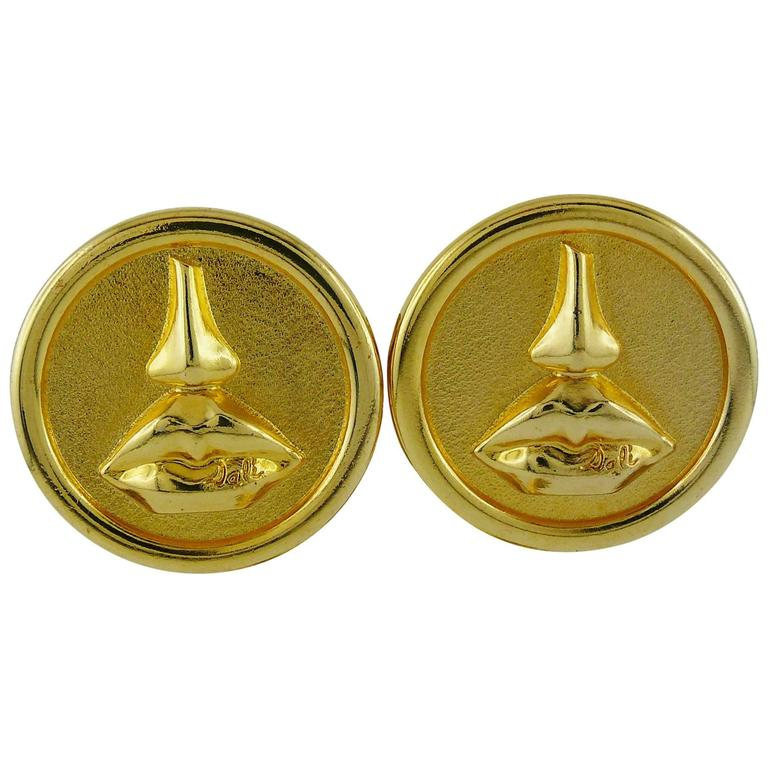 Salvador Dali Parfums Vintage Massive Mouth and Nose Clip-On Earrings For Sale