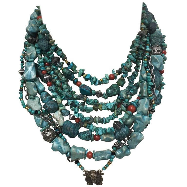 Turquoise Coral Sterling Silver Multi-Strand Necklace For Sale