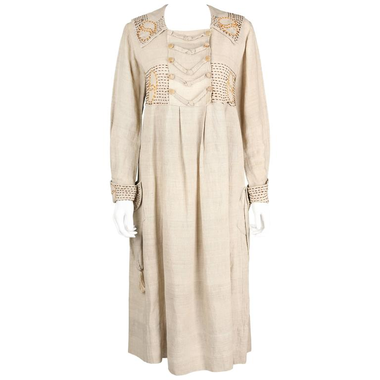 COUTURE Edwardian c.1910s Natural Linen Hand Embroidered Rural Smock Frock Dress